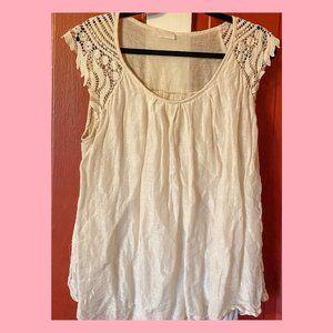 Cream Linen/Silk Blend Sleeveless Crochet Tank